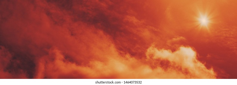 The red sky looked like smoke and fire. bomb Violent explosion