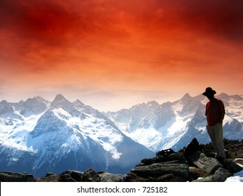 red sky and moutain