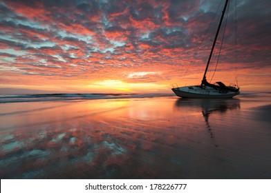 Red Sky Sailor's Warning Shipwreck Outer Banks Cape Hatteras National Seashore Sunrise North Carolina