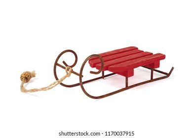 red sledge isolated over white background