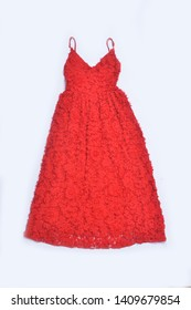 Red sleeveless sundress with red flower pattern