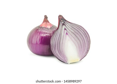 Red sliced onion isolated on white background with clipping path.