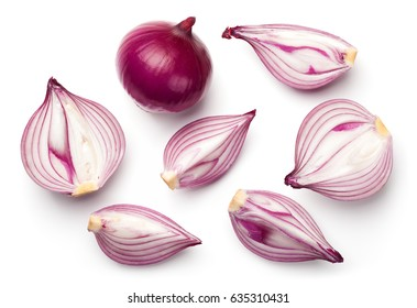 Red sliced onions isolated on white background. Top view