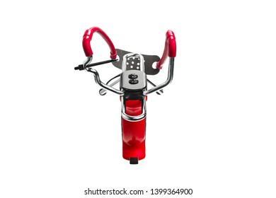Red slingshot isolate on white background. Modern slingshot with ergonomic grip with tubular bands.