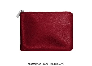 red small cosmetic bag, clutch, isolated on white background