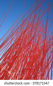 Red small random poles art object in Oslo