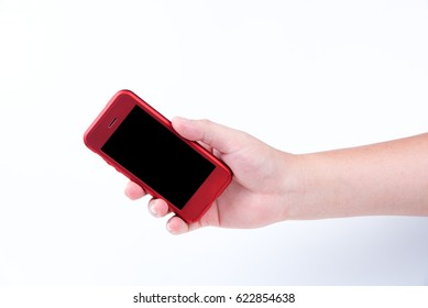 Red smartphone in a hand in white background, Hand holding Red Smartphone