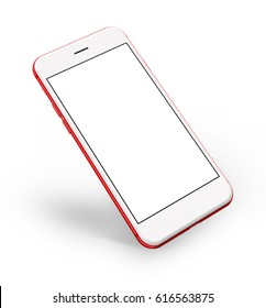 Red smartphones with blank screen, isolated on white background. 3d illustration.