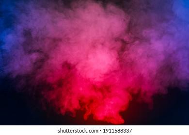 Red smoke blue smoke black background