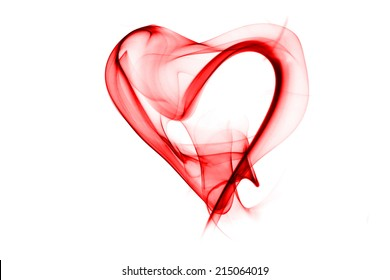 red smoke in heart pattern on white background