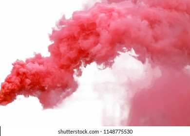 Red smoke, isolated on white background.