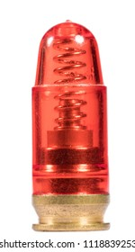 red snap cap practice round for a handgun isolated on a white background