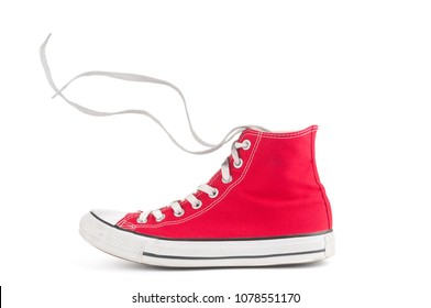 Red sneaker isolated on white background