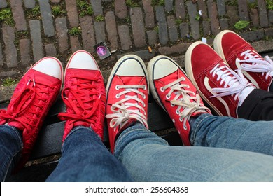 Red sneakers view from above, wonderful ladies day, Amsterdam town, Netherlands