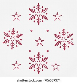 Red snowflakes and Stars in an elegant Christmas Background 3D on white