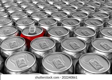 Red soda can standing out of silver soda cans