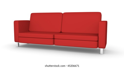 Red sofa; High quality 3D rendered illustration