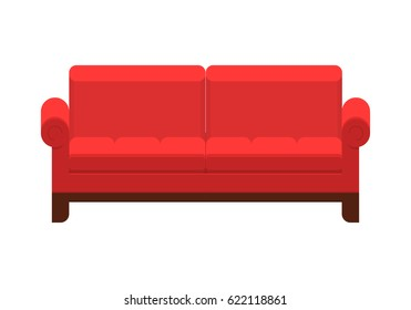 Red sofa. Icon of furniture for an house interior, living room: classic or modern and vintage cozy couch. Flat colorful illustration isolated on white background.