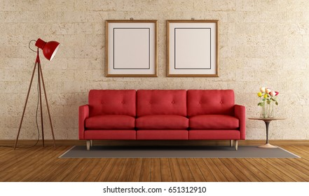 Red sofa in a living room with stone wall - 3d rendering