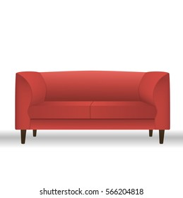 Red sofa for modern living room reception or lounge single object realistic design.