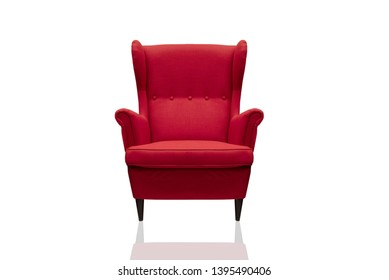 Red sofa on a white background with reflection Furniture that is cut separately