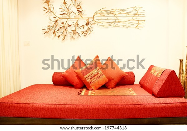 Red Sofa Pillows Stock Photo (Edit Now) 197744318