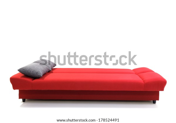 Red Sofa Pillows Isolated On White Stock Photo (Edit Now ...