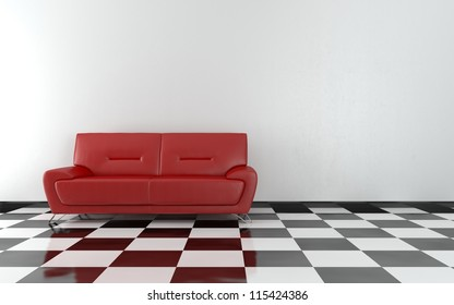 Red sofa in the room - High quality render