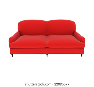 a red sofa which is high clear and high quality on white background.