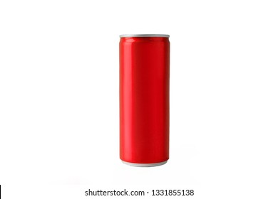 Red soft drink cans on white background