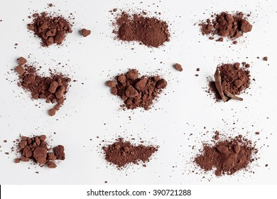 Red Soil isolated on White Background. Pile of Dirt and Stones. Top View of a Heap of Ground. Close Up Macro View Collection