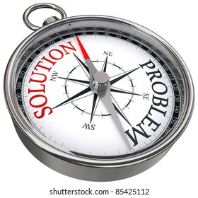 red solution vs black problem opposite ways concept compass isolated on white background