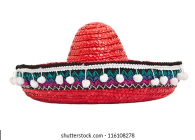 Red sombrero isolated on white background