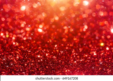 Red Sparkling Glitter bokeh Background with light.