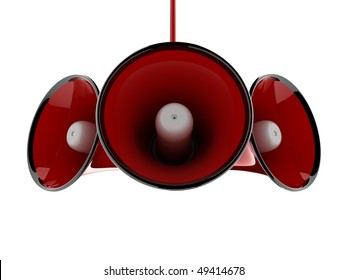 Red speaker megaphone with reflections