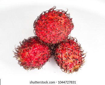 Red spiky rambutan, traditional fruit from Malaysia and Vietnam