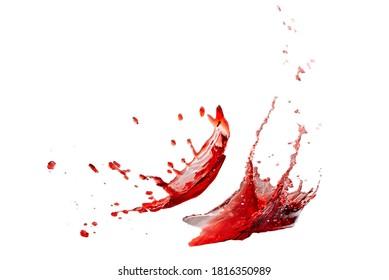 Red splashes isolated on white background.
