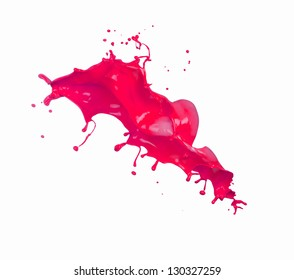 Red splashes on white background