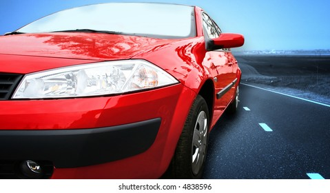 Red Sport Car on a HighWay. Great details !