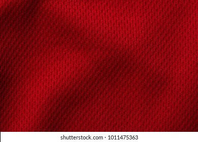 Red sport clothing fabric texture background,  jersey material close up