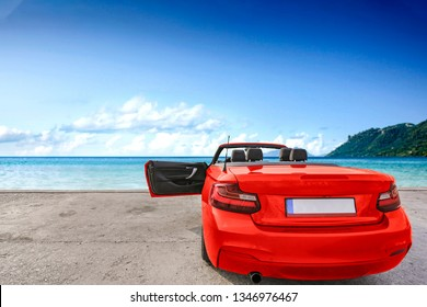 Red sport summer car and free space for your decoration.