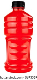 Red Sports Electrolytes Drink In Plastic Bottle