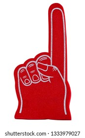 A red sports fan foam finger isolated on a white background.