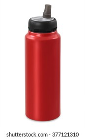 red sports water bottle, isolated on white background