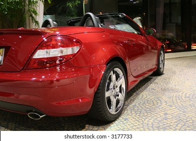 a red sporty convertible