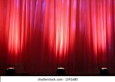 Red Spot Lights on Curtain