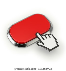Red square button with steel border on white background