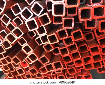 Red square metal.Steel equipment.Industrial material.red square abstract texture