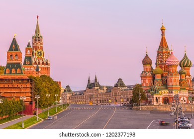 Red Square with Moscow Kremlin and St Basil's Cathedral in Moscow City at morning, Russia.