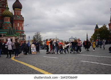 Red Square, Moscow Russia 11 October 2019 : Russia girl perform cover dance in public at Red Square.
